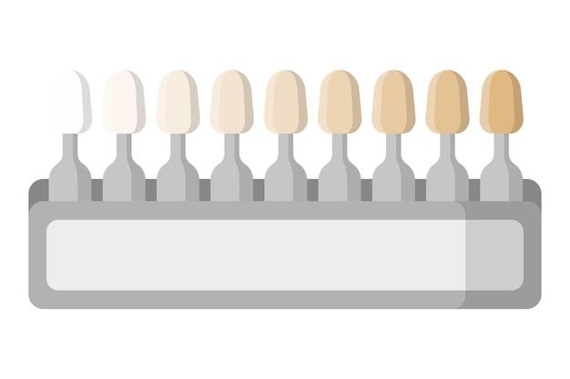 Vektorkarikaturillustration der zahnaufhellung zahnmedizinische palette lokalisiert auf weißem hintergrund.
