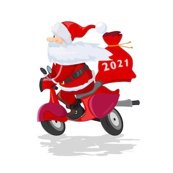 Vektorkarikaturillustration des glücklichen weihnachtsmanns mit einer geschenktüte, die einen roller reitet
