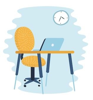 Vektorkarikaturillustration des innenkabinetts, das innere des raumes. tisch und stuhl.