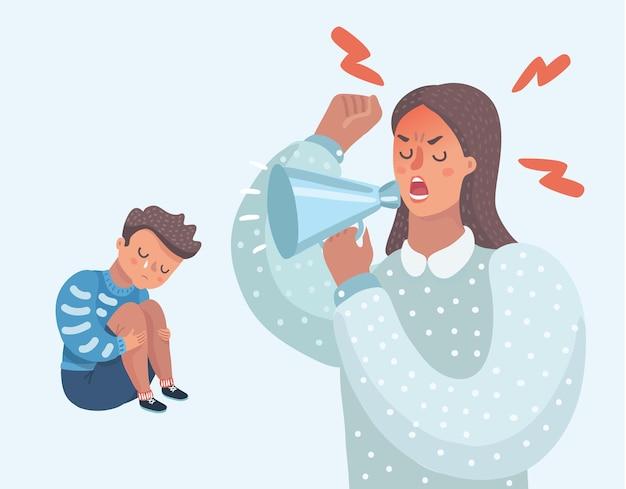 Vektorkarikaturillustration des kleinen traurigen weinenden jungen, der seine geliebten eltern verflucht familie streiten verärgerte eltern falsche bildungspsychologie