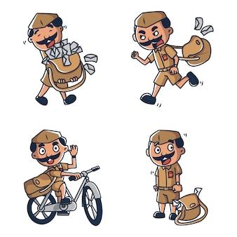 Vektorkarikaturillustration des postboten.