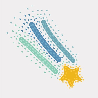 Vektorkarikaturillustration des sterns, form des fallens von kometen, meteoriten, asteroiden, funken von feuerwerkskörpern. vektor-design-elemente isoliert auf weißem hintergrund.+