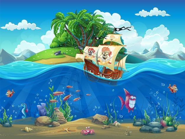 Vektorkarikaturillustration eines piratenschiffs auf einer tropischen insel im ozean unter fischen, weichtieren, corral, krabben auf dem sandigen boden.