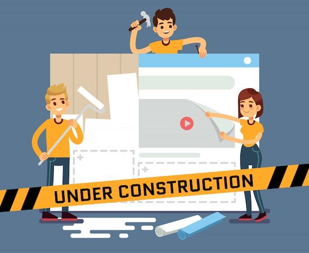 Vektorkarikaturkonzept der website im bau mit netzdesignern. seite der website im bau, illustration des internet-konstrukts und entwicklung