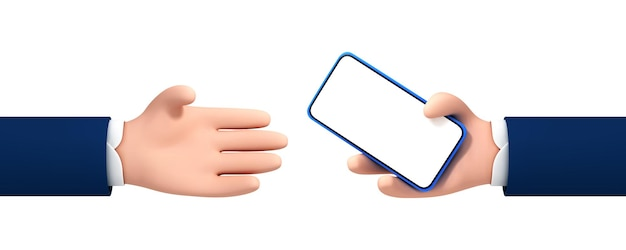 Vektorkarikaturmannhand gibt der hand einer anderen person ein smartphone. karikaturhand, die smartphone lokalisiert auf weißem hintergrund hält.