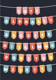 Vektorkarikatursatz der lateinischen alphabetflaggen-parteien.