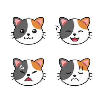 Vektorkarikatursatz der niedlichen katzengesichter, die verschiedene emotionen zeigen