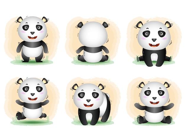 Vektorkarikatursatz des niedlichen pandas