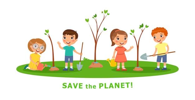 Vektorkarikaturszenen auf umweltfragen