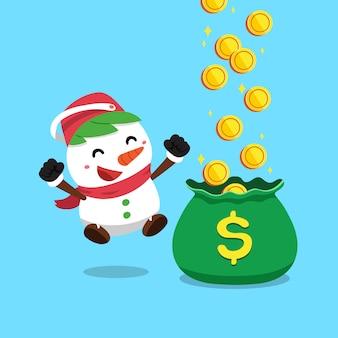 Vektorkarikaturweihnachtsschneemann, der geld verdient