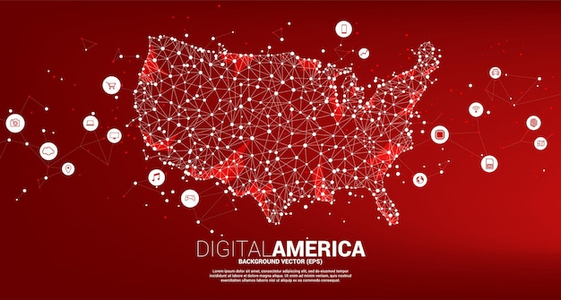 Vektorkarte der vereinigten staaten von polygon dot connect line mit digitalem lifestyle-symbol. konzept für die digitale netzwerkverbindung amerikas.