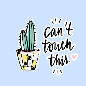 Vektorkarten mit kaktus und positiver phrase.