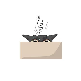 Vektorkatze versteckt sich in einer kiste.