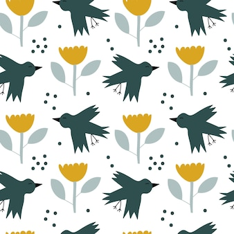 Vektorkinder nahtloses hintergrundfrühlingsmuster mit skandinavischem vogel und blume für babyparty, sommertextildesign. einfache textur für nordische tapeten, füllungen, webseitenhintergrund.