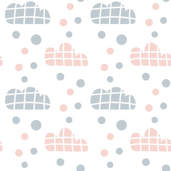 Vektorkindermuster mit wolken und regentropfen und punkten. netter skandinavischer nahtloser hintergrund in minze, rosa und grau