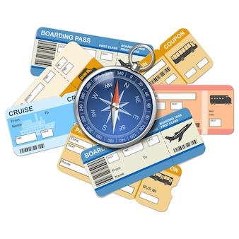 Vektorkompass und tickets