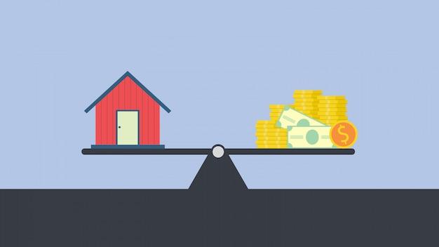 Vektorkonzept der investition in immobilien wie stadthaus, waage mit dem privathaus und geld