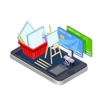 Vektorkonzept des online-shops der künstlerischen werkzeuge