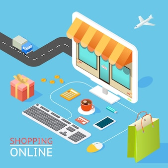 Vektorkonzept des online-shops im flachen 3d-design