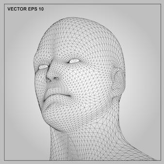 Vektorkonzept oder begriffsdrahtmodell menschlicher mann 3d