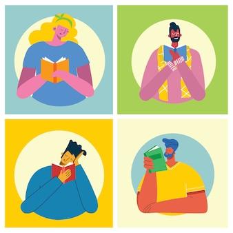 Vektorkonzeptillustrationen des weltbuchtags, lesen der bücher und des buchfestivals im flachen stil. die leute sitzen, stehen und gehen und lesen ein buch im flachen stil