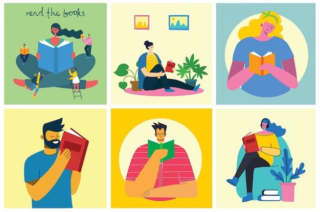Vektorkonzeptillustrationen des weltbuchtags, lesen der bücher und des buchfestivals im flachen stil. die leute sitzen, stehen und gehen und lesen ein buch