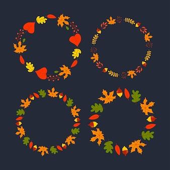 Vektorkranz aus herbstblättern und früchten im aquarellstil. schöner runder kranz aus gelben und roten blättern, eicheln, beeren, zapfen und zweigen. dekor für einladungen, grußkarten, poster.