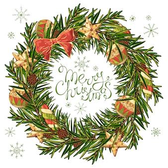 Vektorkranz eines weihnachtsbaums mit dekorationen des neuen jahres.