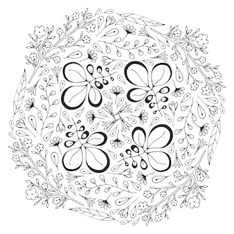 Vektorkreisblumenverzierung. adult malbuch seite. vektor-design für die dekoration