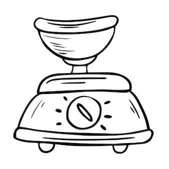 Vektorküchenwaage mit schüssel. küchenmaschine, küchengerät symbol leitung. karikaturillustration der inländischen waagenvektorikone für webdesign. handgezeichnete doodle-gerät-vektor-illustration
