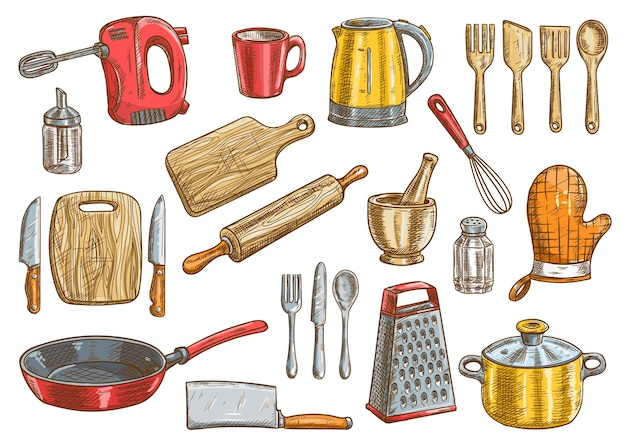 Vektorküchenwerkzeugsatz. küchengeräte vektor isolierte elemente. kochutensilien und besteck clipart