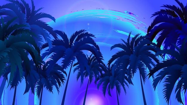 Vektorlandschaft von palmen auf einem hintergrund des abstrakten himmels und der sonne. eps 10.