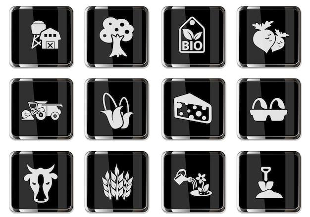 Vektorlandwirtschaftliche piktogramme in schwarzen chromknöpfen. symbole für das design der benutzeroberfläche