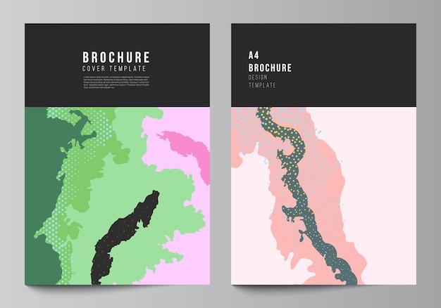 Vektorlayout von a4-cover-mockups-designvorlagen für broschüren, flyer-layout, cover-design, buchdesign, broschüren-cover. japanische mustervorlage. landschaftshintergrunddekoration im asiatischen stil.
