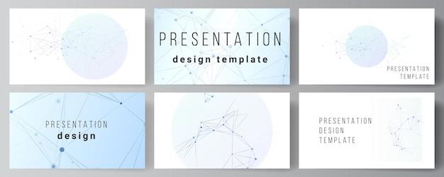 Vektorlayout von präsentationsfolien entwerfen geschäftsvorlagen, mehrzweckvorlage für präsentationsbroschüre, broschürenabdeckung, bericht. blauer medizinischer hintergrund mit verbindungslinien und punkten, plexus.