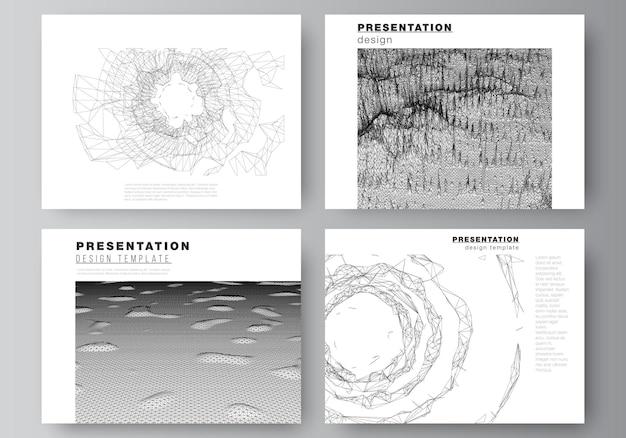 Vektorlayout von präsentationsfolien entwerfen geschäftsvorlagen, vorlage für broschüre, cover, geschäftsbericht. abstrakte digitale 3d-hintergründe für futuristisches konzeptdesign mit minimaler technologie.