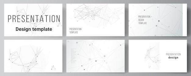 Vektorlayout von präsentationsfolien entwerfen geschäftsvorlagen, vorlage für präsentationsbroschüre, broschürenabdeckung, bericht. grauer technologiehintergrund mit verbindungslinien und punkten. netzwerkkonzept.