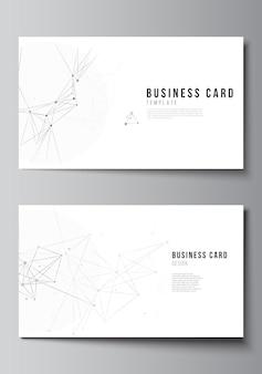 Vektorlayout von zwei kreativen visitenkarten-designvorlagen, horizontales schablonenvektordesign. grauer technologiehintergrund mit verbindungslinien und punkten. netzwerkkonzept.