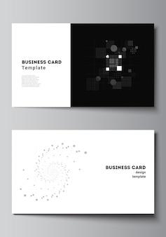 Vektorlayout von zwei kreativen visitenkarten-designvorlagen, horizontales schablonenvektordesign. wissenschaftlicher hintergrund der abstrakten technologie schwarzer farbe. digitale daten. minimalistisches hightech-konzept.