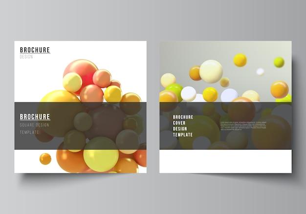 Vektorlayout von zwei quadratischen abdeckungsschablonen für broschüre