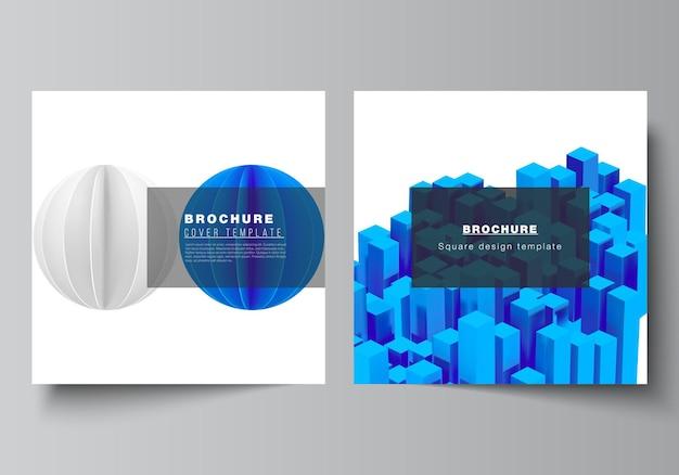 Vektorlayout von zwei quadratischen formatvorlagen für broschüren-flyer-cover-design-buchdesign-broschüren-cover d render-vektor-komposition mit dynamischen realistischen geometrischen blauen formen in bewegung in