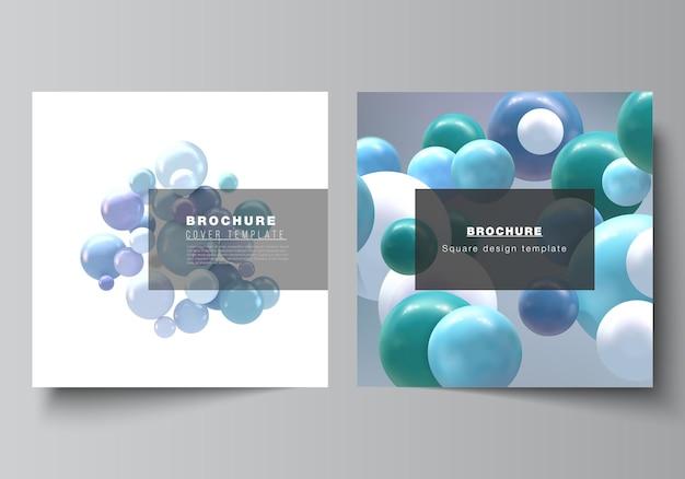 Vektorlayout von zwei quadratischen formatvorlagen für broschüren, flyer, zeitschriften, cover-design, buchdesign, broschüren-cover. realistischer vektorhintergrund mit bunten 3d-kugeln, blasen, kugeln.