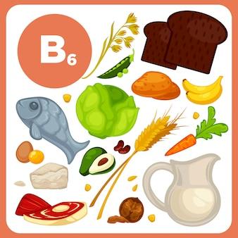 Vektorlebensmittel mit vitamin b6.