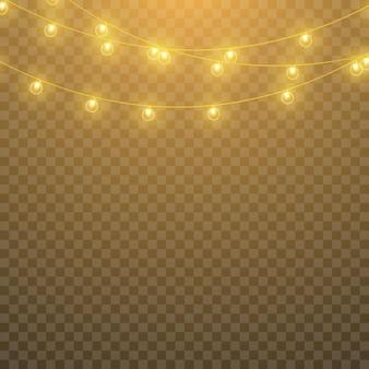 Vektorlichter, getrennt auf einem transparenten hintergrund. leuchtende girlande.