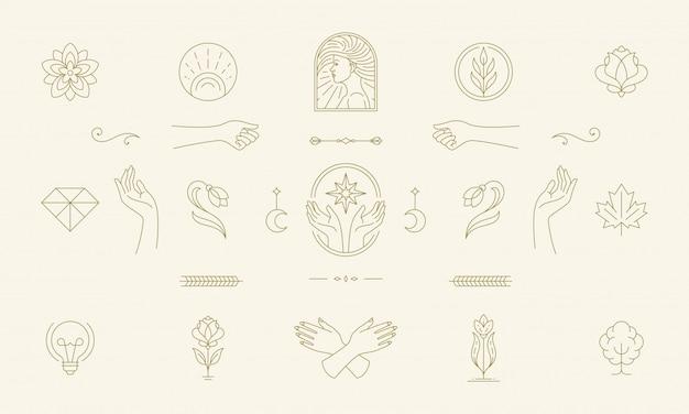 Vektorlinie feminine dekoration design-elemente gesetzt - weibliche gesicht und geste hände illustrationen einfachen linearen stil