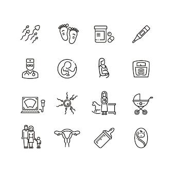 Vektorlinie ikonen der schwangerschaft und des neugeborenen kindes. mutterschafts- und säuglingsbabypiktogramme