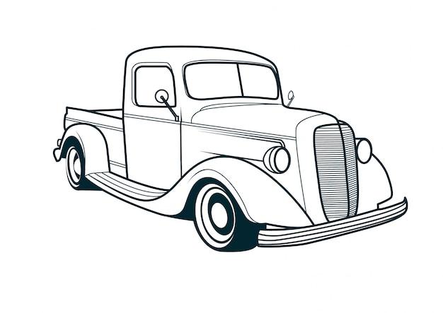 Vektorlinie kunst des klassischen lkw-autos