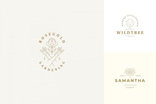 Vektorlinie logos embleme designvorlagen set - weibliche gesten hände und rosenblume illustrationen linearen stil