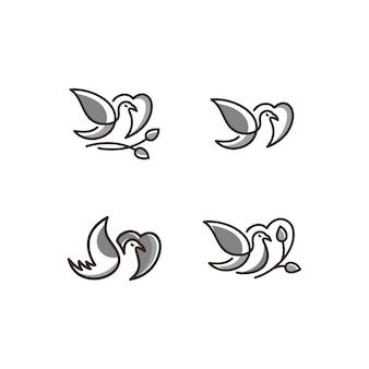 Vektorlogo der vogelikonenlinie kunst graue farbe
