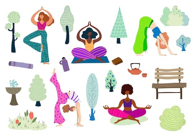 Vektormädchen im park, der yoga tut